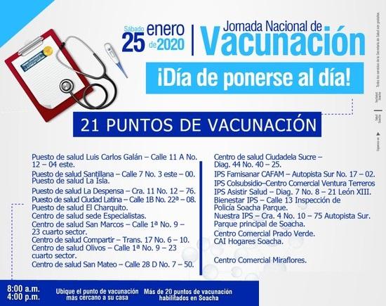 Nueva jornada de  vacunación en Soacha para niños, adultos mayores y madres gestantes